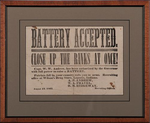 21st Indiana Battery recruiting poster