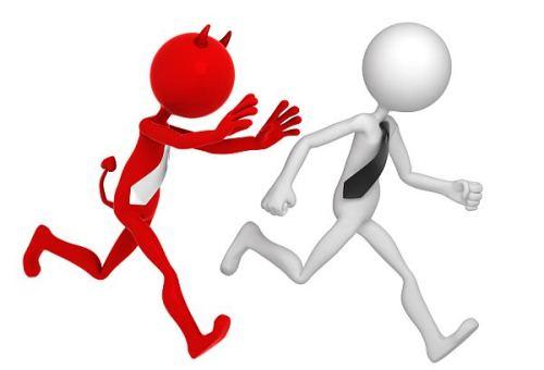 man running away from devil.