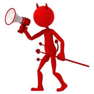 Devil agitate through megaphone