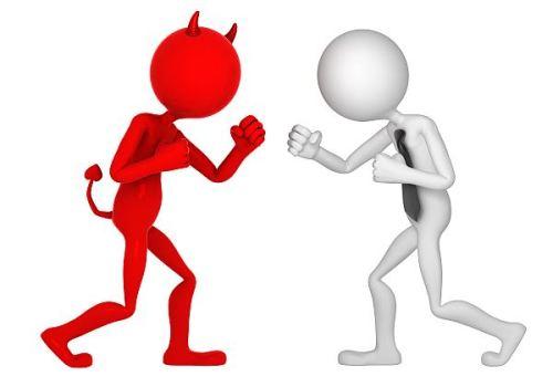 man fighting the devil
