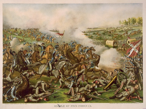 Battle of Five Forks Kurz & Allison 1886, click to enlarge