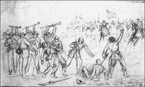 THE SKIRMISH NEAR AMELIA COURT HOUSE AS SKETCHED BY ALFRED WAUD (LoC)