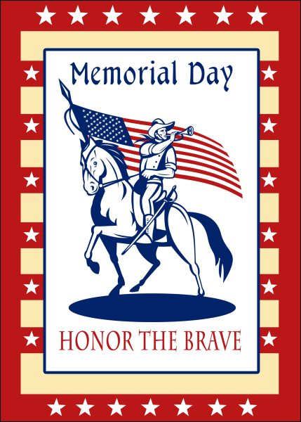 union cavalry american civil war soldier blowing bugle riding horse holding an American stars and stripes flag  and words memorial day honor the brave.