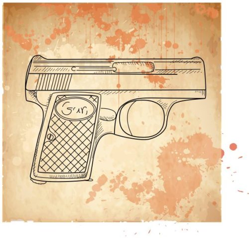 vector-illustration-of-a-gun-on-the-vintage-background