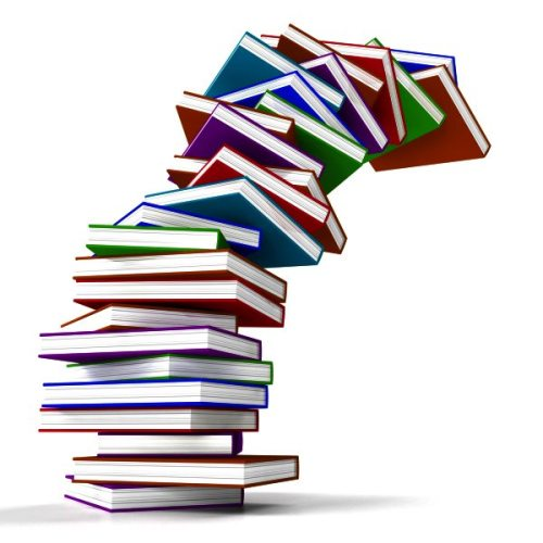 Stack Of Colorful Falling Books Representing Learning And Education