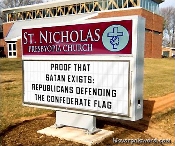 gop defend flag satan