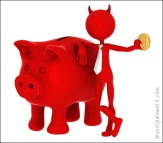 Devil with piggybank. Isolated on white