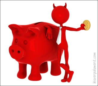 Devil with piggybank