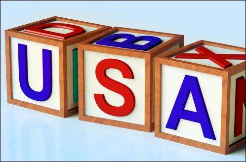 Wooden Blocks Spelling Usa