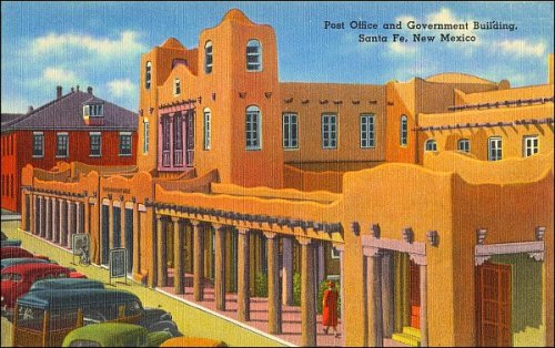 This work is in the public domain in the United States because it was published in the United States between 1923 and 1977 without a copyright notice. See: https://commons.wikimedia.org/wiki/File:Post_Office_and_Government_building,_Santa_Fe,_New_Mexico.jpg